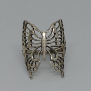 Sterling Silver Butterfly Filigree Ring Sz 9